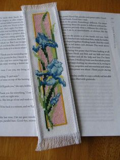 """Excited to share the latest addition to my #etsy shop: Hand Stitched Completed Cross Stitch Bookmark """"Elegant Iris""""2.5""""X9.25"""" http://etsy.me/2o9oFEy #supplies #crossstitch #blue #bookmark #completedbookmark #handcrafted #new #finished #handstitched"""