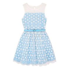 Buy Yumi Girl Embroidered Flower Prom Dress, Blue from our Girlswear Offers range at John Lewis & Partners. Floral Prom Dresses, Girls Dresses, Summer Dresses, Party Looks, Perfect Party, Embroidered Flowers, Fit And Flare, Hair Bows, Two Piece Skirt Set