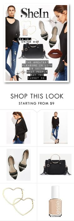 """""""♥Win from Black T-shirt SheIn♥"""" by cultofsharon ❤ liked on Polyvore featuring Thalia Sodi, Essie and Lime Crime"""