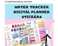Water tracker stickers for you digital planner. Goal Tracking, Planner Book, Productive Day, Planner Organization, Setting Goals, Handmade Items, Handmade Gifts, Planner Stickers, Etsy Seller