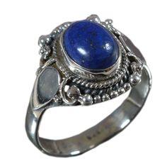 925 Solid Sterling Silver Ring Natural Lapis Lazuli US Size 8.75 JSR-810 #JaipurSilver