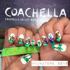 My #CoachellaNails 2015!  By @vinatero ~  Inspired by the beautiful artwork by @PoeticKinetics.  The giant size #CoachellaCaterpillar actually goes through #metamorphosis and turns into a giant @CoachellaButterfly by the end of the 3 Days at #Coachella. ☀️ I get to see it all in person this Weekend 2!   #Coachella2015 #nails #nailart #coachellanailart