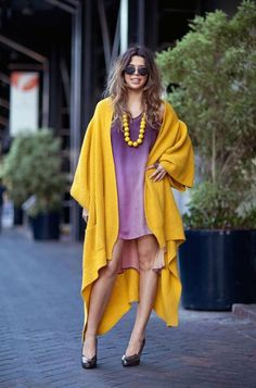 yellow and purple   oversized coat, dolman sleeve, stylecaster.com