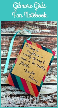 Are you excited about the new episodes of the Gilmore Girls? Here's an easy to make Gilmore Girls Fan Notebook to toss in a bag that has one of Lorelai's best quotes on the cover!