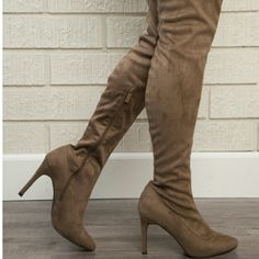 BRAND NEW Taupe/Brown Thigh High Boots! Size 10, true to size. Brand new never worn! 4 inch heel. Super sexy and on trend! Description is above. Condition 10/10 Fashion Nova Shoes Over the Knee Boots