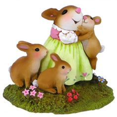 """Honey Bunnies by Wee Forest Folk®.  Tiny at under 1.5"""" tall. The perfect special gift for your honey bunny!  Miniature mouse figurine handcrafted in the USA."""