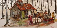 Allons à la cabane! Galerie D'art, Fashion Painting, Home Art, Stencils, Painting Styles, Watercolor, Seasons, Artwork, Diy