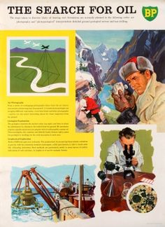 BP The Search For Oil, 1960s - original vintage poster listed on AntikBar.co.uk