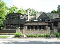 Frank Lloyd Wright's studio in Oak Park, IL, viewed from Chicago Avenue