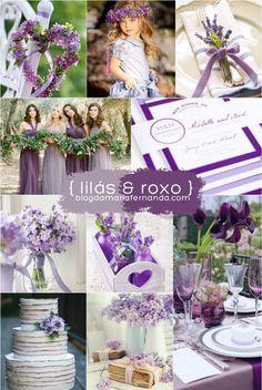Decoração de Casamento Paleta de Cores Lilás e Roxo   Inspiration Board Wedding Color Palette Lilac and Purple   http://blogdamariafernanda.com/decoracao-de-casamento-paleta-de-cores-lilas-e-roxo
