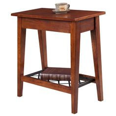 This narrow chairside table by KD Furnishings features a beautiful westwood oak finish and matte black woven steel shelf for extra space. Crafted from ash solid and oak veneer wood, this table stands at 24 inches high.