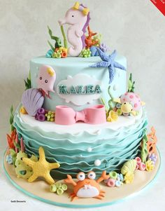 from April 2015 Cake Masters Magazine cake decorating recipes anniversaire chocolat de paques cakes ideas Ocean Birthday Cakes, Ocean Cakes, First Birthday Cakes, Birthday Cake Girls, Baby Cakes, Girl Cakes, Cupcake Cakes, Fondant Cakes Kids, Fondant Bow