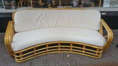 Unknown designer - vintage bamboo/rattan curved sofa