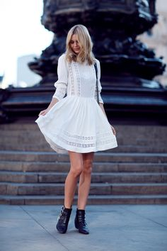 Asos embroidery dress, Chanel Boy bag, Toga Pulla boots, Elizabeth and James ring, Jennifer Myer ring.