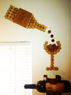 Wine cork bottle and glass