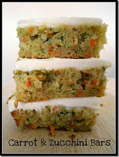 tons of zuccini recipes but these carrot/zuccini bars... yum!