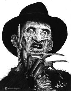 A Nightmare on Elm Street Dream Warriors Freddy Krueger Styl. Horror Movie Tattoos, Horror Movie Characters, Horror Movies, Freddy Krueger Drawing, Scary Drawings, Dream Warriors, Horror Artwork, Horror Icons, Arte Horror