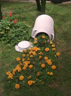 spilled milk can garden. Creative!