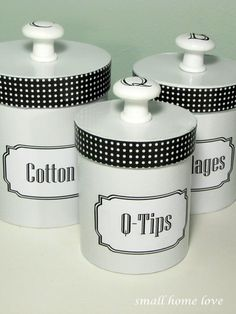 diy vintage bathroom canisters. these are just TOOO CUTE♥ and easy. If the canister is small enough, I'll just paper the entire thing.