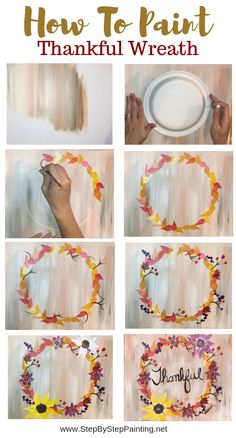 How To Paint A Fall Wreath Painting a wreath is very simple! Learn the steps in this acrylic painting tutorial for beginners. In this lesson you will find detailed picture instructions and a video. Fall Canvas Painting, Canvas Painting Tutorials, Autumn Painting, Diy Canvas Art, Autumn Art, Painting Lessons, Diy Painting, Fall Paintings, Halloween Painting