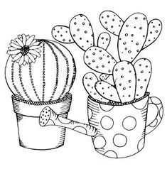 Riscos graciosos (Cute Drawings): Cactos e Suculentas (Cacti and Succulents) Cactus Drawing, Cactus Art, Drawing Art, Meat Drawing, Cactus Painting, Drawing Ideas, Coloring Book Pages, Fabric Painting, Craft Ideas