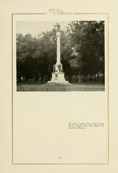 "Athena Yearbook, 1915. ""To Ohio's Soldier Boys, Brave and True, Stands this tall Shaft In Grateful Memory."" :: Ohio University Archives"