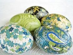 Decoupage easter eggs~ I make these every year from fancy napkins or tissue paper!:
