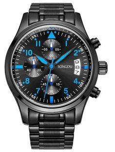 http://amzn.to/2kkN5Ht SONGDU Herren Schwarze Military Chronograph Casual Quarz - Uhr Coole Blaue Hand Edelstahl - Armband #uhren #herren #schmuck #deutsch #amazon #uhr #luxus #Mode #outfits #pinterest #like #post #money #geld #armband #armbanduhr