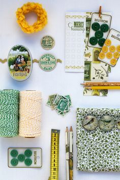 Yellow, Emerald & Teal - Green and yellow twine...I need the veritable rainbow. This looks so verdant and lovely.
