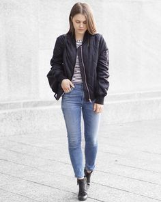 A Little Detail - IMSO Quilted Black Bomber Jacket // Forever 21 Striped Top // Citizens of Humanity Rocket Crop Skinny Jeans  #outfit #womensfashion #fallfashion #autumnfashion #bomberjacket #stripedshirt #jeans #backpack #f21xme