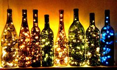 Liberate your ever-growing collection of empty wine bottles by filling with fairy lights for some extra-pretty christmas decorations. (or buy one if you can't be arsed)  -Cosmopolitan.co.uk