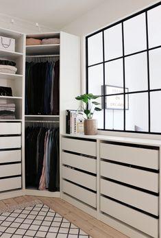 Walk in closet ikea pax inspiration. Walk In Closet Ikea, Ikea Pax Closet, Ikea Pax Wardrobe, Walk In Closet Design, Closet Drawers, Closet Designs, Corner Closet, Wardrobe Ideas, Master Closet