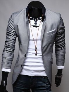 Blazer, V-Neck Tee, & Jeans (Casual Style)-Men