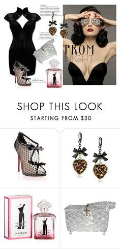 """""""Diva's night"""" by m-illumino-di-glamour ❤ liked on Polyvore featuring Dita Von Teese, Christian Louboutin, Betsey Johnson, Guerlain and PROMNIGHT"""