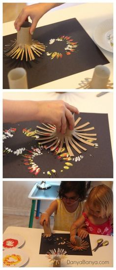Feuerwerk malen: einfach mit Kindern: mithilfe von Klopapierrollen.