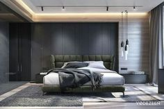 Strong interior with a gentle look on Behance - Bedroom Design Ideas Master Bedroom Design, Home Bedroom, Modern Bedroom, Bedroom Wall, Bedroom Decor, Bedroom Ideas, Contemporary Bedroom, Decoration Inspiration, Design Inspiration