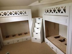 """Twin """"L"""" quad bunk beds #beds Bunk Beds With Stairs, Kids Bunk Beds, Corner Bunk Beds, Adult Bunk Beds, Bunk Beds For Adults, Bunk Bed Ideas For Small Rooms, Loft Bunk Beds, Loft Spaces, Small Spaces"""