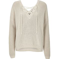 Cream knitted lace-up slouchy jumper