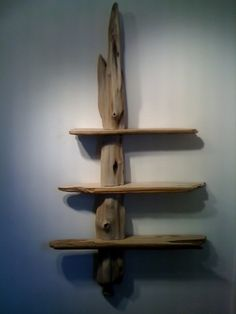 "Driftwood shelves made from Western Red Cedar and Doug fir. 34"" x 64""."
