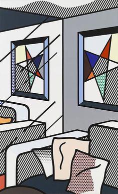 #RoyLichtenstein Interior with Perfect Painting, 1992.   Follow #RoyLichtenstein, internationally known master pop artist, on Pinterest curated by Joseph K. Levene Fine Art, Ltd. | JKLFA.com | http://pinterest.com/jklfa/roy-lichtenstein/