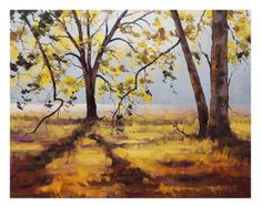 TREES WALL DECAL summer yellow sunlight landscape painting by Graham Gercken