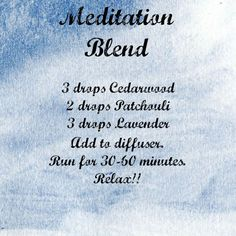 Meditation blend for your diffuser. Try Cedar wood, Patchouli and Lavender Essential Oils and relax! www.hayleyhobson.com