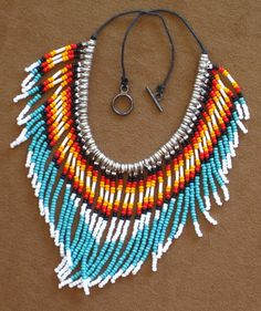 Native American style fringed turquoise and silver seed bead necklace. Native Beadwork, Native American Beadwork, Native American Jewelry, Indian Beadwork, Native American Crafts, Native American Fashion, American Indians, Seed Bead Necklace, Seed Beads
