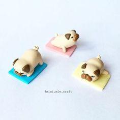 Polymer Clay Yoga Pugs