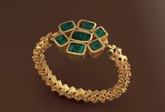 Gold bracelet with emeralds, late Roman 3rd century A.D. #EmeraldBracelet #RomanJewelry
