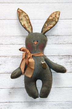 Little Raggedy Chambray Easter Bunny by HeartstringAnnie on Etsy Chambray Fabric, Raggedy Ann, Ribbon Bows, Softies, Easter Bunny, Making Out, Annie, Primitive, Dinosaur Stuffed Animal