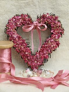 Pink Heart Wreath- LOVE THIS!!! PINK and Hearts. Two of my favorite things...