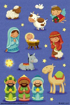 Check your Christian bookstore to see if there are any Christmas stickers you can purchase and add to your next letter! Christmas Nativity Scene, Noel Christmas, Christmas Clipart, Christmas Images, A Christmas Story, Nativity Scenes, Clipart Noel, Nativity Clipart, Illustration Noel