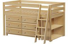 Castello Birch Twin Jr. Loft Bed with 6 Drawer Dresser &  Bookcase
