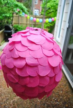 Pull string Pinata, we love paper mache and have made our own sometimes industructable pinatas!  Plus I did know Tori Spelling was crafty!